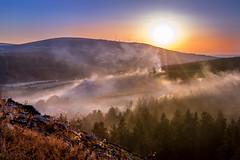 Fire in the Forrest (Kevin_Barrett_) Tags: ireland wicklow landscape fire trees forrest sunset sun mountain hills dublin smoke