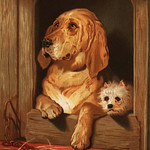Dignity and Impudence by Sir Edwin Landseer (1877), Landseer's dog painting of a bloodhound and a terrier. Digitally enhanced from our own original plate. thumbnail
