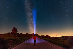 Looking for the perfect star (Artur Tomaz Photography) Tags: astrophotography caramulo people road sky stars blue flash flashlight led light milkyway night rock