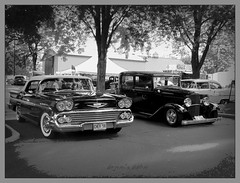 Dissimilar (novice09) Tags: backtothefifties carshow chevrolet ford blackandwhite monochrome ipiccy 1958 1932