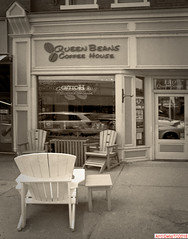 Coffee house (DelioTO) Tags: 4x5 antiquities architecture blackwhite canada d23 f317 fomapan100 historical landscape ontario pinhole rural toned trip