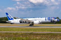 "I BSL I JA873A Boeing 787-9 (Dreamliner) ANA - All Nippon Airways ""Star Wars R2-D2 Livery"" (Right side) (Stephane GolfTraveller) Tags: bsl ja873a boeing 7879 dreamliner ana all nippon airways star wars r2d2 canon panningshot aeroport airport planespotting ©stephanegolftraveller mlh euroairport basel mulhouse flughafen lfsb"