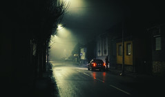 Lonely woman on street (dejankrsmanovic) Tags: cacak balkans person road scary outdoor nightmare light mist mystery night scene smoke vehicle weather woman urban town spooky street house city dark darkness car black asphalt atmosphere auto automobile dramatic effect girl gloomy fright evening exterior fear fog alone concept