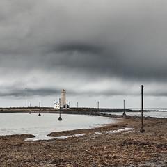 Grótta Lighthouse (pni) Tags: sky cloud sea water ocean horizon lighthouse building utilitypole shore wire seaweed beach quiet is18 iceland ísland pekkanikrus skrubu pni seltjarnarnes