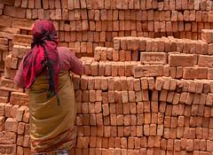 Lady collecting bricks (SamKirk9) Tags: nepal kathmandu bhaktapur