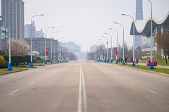 Busy day in Pyongyang (TeunJanssen) Tags: pyongyang northkorea korea dprk travel traveling traffic worldtravel communist olympus omd omdem10 street road empty backpacking youngpioneertours ypt