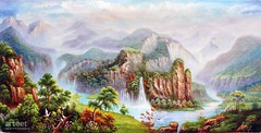 Tropical Paradise, Art Painting / Oil Painting For Sale - Arteet™ (arteetgallery) Tags: arteet oil paintings canvas art artwork fine arts waterfall river water landscape rock stone stream outdoor mountain environment tree fall canyon falls cascade natural summer flowing wild rocks valley scenery scenic spring splash ravine waterfalls outdoors flow wilderness lake peaceful falling motion wet serene tranquil ecology grass national stones fresh mountains trees peace landscapes surreal fantasy lakes rivers green cyan paint