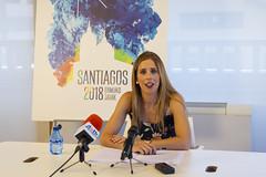 La concejala de Cultura Beatriz Gámiz, en la presentación del programa de fiestas en Lobiano Kulturgunea.