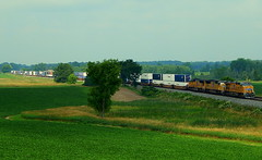 Union Pacific led intermodal on the CSX Garrett Sub near Albion Indiana (Matt Ditton) Tags: albion union pacific train trees grass green