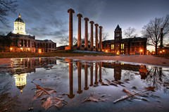 The Columns and Jesse Hall Reflected (Notley Hawkins) Tags: httpwwwnotleyhawkinscom notleyhawkinsphotography notley notleyhawkins 10thavenue jessehall mizzou bluehour 2007 building tree dof depthoffield leaf campus universityofmissouri december winter water puddle reflect reflectioin reflection grass dome evening dusk columns thecolumns