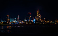 in operation since 1915 (pbo31) Tags: bayarea california night dark black july 2018 boury pbo31 nikon d810 summer color lightstream motion roadway traffic shelloilrefinery martinez contracostacounty eastbay highway 80 industrial plant steam petroleum refining gas energy