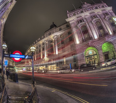 Traveling At The Speed Of Light (Wizard CG) Tags: piccadilly circus london long exposure england gb great britain uk united kingdom cold skyline outdoor architecture city night bus cityunderground station traffic epl7 urban motion road building railroad people sky