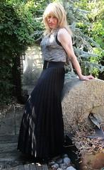 Totally at Odds ;-) (Amber :-)) Tags: long black sunray pleated skirt tgirl transvestite crossdressing