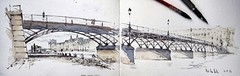 Paris, Pont des Arts (alexhillkurtzart) Tags: watercolor usk pontdesarts sketch urbansketch paris