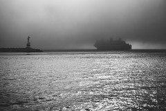 To the bright future (Hud1ai2) Tags: zakynthos greece ship sailing ocean zante harbor bnw bw blackandwhite blackwhite black bnwphoto mist fog morning lower clouds dramatic sunrise travel traveling