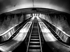 Charlevoix Escalators (MassiveKontent) Tags: escalator escalators montreal bw contrast city monochrome urban blackandwhite street photo montréal quebec photography bwphotography streetshot architecture asphalt concrete shadows noiretblanc blancoynegro geometric