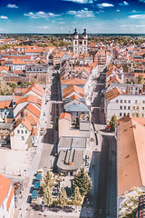 Old Town (simplyalex) Tags: old town lutherstadt wittenberg germany schlosskirche stadtkirche summer sunlight blue sky church tower rooftops red city streets architecture warm light clouds color sunny himmel tiny exploring colours