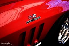 Big Boy Corvette (Hi-Fi Fotos) Tags: chevy chevrolet c2 corvette vette red 427 turbojet bigblock badge chrome emblem logo flags gills detail vintage american classiccar sportscar nikon d7200 dx hififotos hallewell
