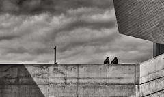 The Conversation (Aviones Plateados) Tags: urban city conversation two people museu disseny barcelona museo diseño design museum hub blancoynegro blancinegre blackandwhite sky cielo cel conversa architecture arquitectura candid canon eos 550d