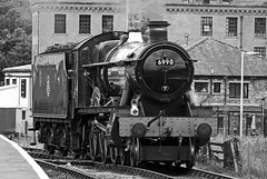 Witherslack Hall at Rawtenstall in Mono (wontolla1 (Septuagenarian)) Tags: elr east lancashire lancs railway rawtenstall station mono blackandwhite monochrome steam loco locomotive 6990 black white