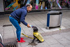 #08 Bristol; June 2018 (Daniel Durrans) Tags: drinking urban waterbottle candid canpubphoto street bristol dog streetphotography water nervousdog nervous broadmead bottle