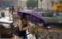 Sotto la pioggia (Aellevì) Tags: piove ombrello bicicletta