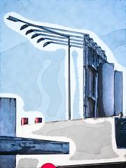 Shapes (Steve Taylor (Photography)) Tags: lights spotlight sign building billboard lamppost blue white red black digitalart graphic bird sparrow newzealand nz southisland canterbury christchurch shape texture sky