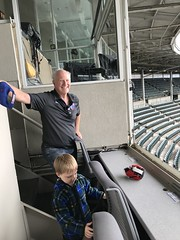 "Paul and Grandpa Miller in the Wrigley Field Press Box • <a style=""font-size:0.8em;"" href=""http://www.flickr.com/photos/109120354@N07/43081036272/"" target=""_blank"">View on Flickr</a>"