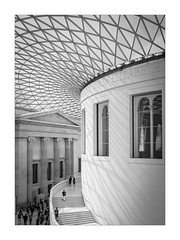 Old and New (Dave Fieldhouse Photography) Tags: photography photo24london photo24 london interior building architecture geometric construction monochrome mono blackandwhite bnw city museum britishmuseum shadows people history glass art fuji fujixpro2 fujifilm wwwdavefieldhousephotographycom steps windows roof pillars