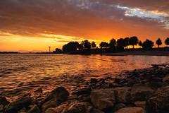 Golden sky in my hometown (marielledevalk) Tags: sunset trees silhouet sky water river rocks clouds evening holland nature dutch europe bridge