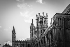 Heavenly (The Frustrated Photog (Anthony) ADPphotography) Tags: architecture cambridgeshire category ely england external places travel canon550d canon1585mm canon outdoor travelphotography blackandwhite whiteandblack bw placeofworship tower spire mono monochrome