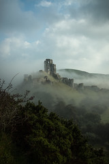 high on a hill....Corfe castle (stocks photography.) Tags: michaelmarsh photographer landscape corfecastle castle thecastleinthesky misty foggy fog heritage photography magical mystical cinematic atmospheric corfe