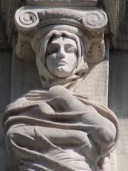 Mysterious Woman Dame Winter Caryatid NYC 5429 (Brechtbug) Tags: stone ladies courthouse roof statues across from madison square park new york city caryatid atlantid 2018 nyc 07152018 art architecture gargoyle gargoyles statue sculpture sculptures facade figures column columns court house law government building lady women woman figure form far east buildings mysterious dame winter seasons