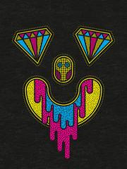 Psychedelic Trip #37 (Calaveras y Gatitos) Tags: trip psychedelic diamonds space stellar face crazy smile cmyk