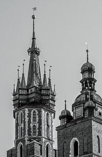 Top of St Mary's Bascilica (Krakow Old Town) (Monochrome) (Monochrome) (Olympus OMD EM1 II & M.Zuiko 12-100mm f4 Pro Zoom)
