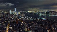 Downtown at Night (GeraldGrote) Tags: architecture night city newyork hudsonriver manhattan usa onewtc us