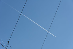 Crossing (NikonStone (on and off)) Tags: bergen nikon d7100 contrail airplane blue minimal minimalism