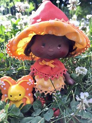 Orange Blossom & Marmalade (Foxy Belle) Tags: doll strawberry shortcake 1980s outside flower garden nature orange blossom black butterfly aa african american
