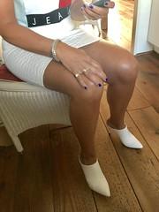 MyLeggyLady (MyLeggyLady) Tags: upskirt crossed thighs hotwife milf sexy secretary teasing miniskirt stiletto mules leather cfm legs heels