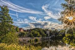 Evening mood at the Rothenburger pond in Dinkelsbühl - Germany (Friedels Foto Freuden) Tags: dinkelsbühl abendstimmung wolken himmel sonnenstern clouds sunset