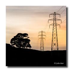Pylon Sunset - 2018-06-25th (colin.mair) Tags: munnoch reservoir sunset tree border frame hill pylons silhouette