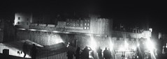 Meeting at night time (LUMEN SCRIPT) Tags: history castle architecture artisticperspective artisticphotography perspective grain granulosity blur unsharp uk england london nightphotography monument city blackandwhite urbanphotography streetphotography panorama monochrome
