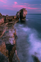 Post-show glow (Wizmatt) Tags: pulpit rock portland bill dorset coast south england geology sunset blue hour clouds pink waves misty water long exposure cokin filters canon photography landscape sea