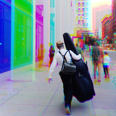 Harris shutter effect: Dashing to a gig (Thiophene_Guy) Tags: thiopheneguy originalworks xz1 olympusxz1 composite muybridgeperspective movingsubjectreferenceframe colour colors colours rainbow color surreal thsfeset harrisshutter effect rainbowcolors kinetic dynamic dynamism action motion movement aleatoric