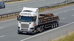 T666 MFT (panmanstan) Tags: scania r490 wagon truck lorry commercial flatbed freight transport haulage vehicle a1m motorway fairburn yorkshire