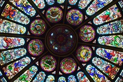 Stained glass rotunda of the Bank of Montreal Building (cropped) (R.A. Killmer) Tags: bank montreal canada toronto hockey halloffame hall fame nhl stained glass beauty colorful impressive architecture old classic ontario