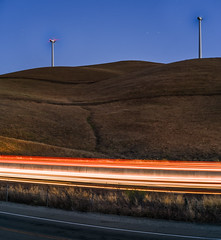 just over the pass (pbo31) Tags: california bayarea nikon d810 color june 2018 boury pbo31 summer lightstream motion roadway altamontpass livermore sunset 580 eastbay alamedacounty highway windfarm power natural turbines energy spinning electric panoramic large stitched panorama orange