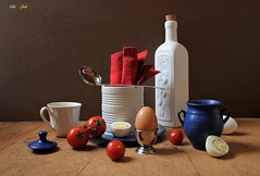 4th of July Breakfast (Esther Spektor - Thanks for 12+millions views..) Tags: stilllife naturemorte bodegon naturezamorta stilleben naturamorta composition creativephotography breakfast tabletop food eggs tomato bottle plate cup slice jar napkin lid spoon ceramics metal wooden linen ambientlight reflection white red blue beige silver yellow brown estherspektor canon coth5
