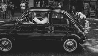 These two beautiful souls were vibrating so high, they took us all along for the ride.  Bonne chance! 💕  #horizon #newlyweds #weddingstyle #graphic #classiccar #vintage #fiat500 #design #carstagram #london #streetphotography #cigar #streetshot