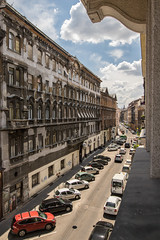 Streets of Budapest (DelightTurkish) Tags: streets buildings hungary ungarn budapest architecture cars red sky himmel blue city travel reisen holidays oldbuildings europe sightseeing clouds